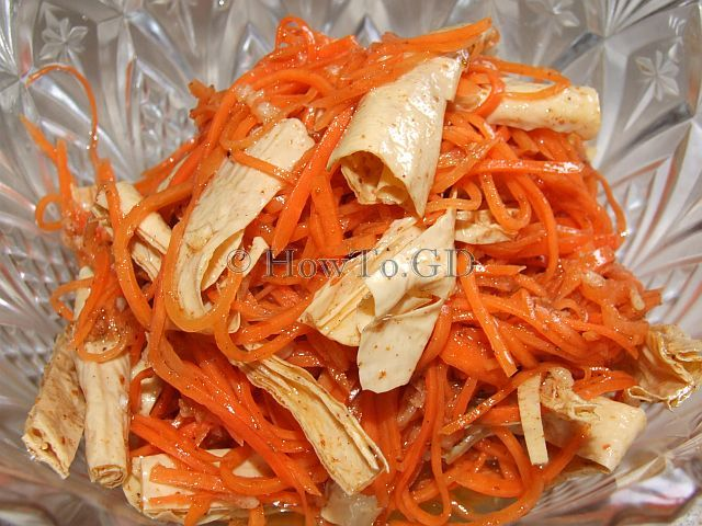 How to make hot carrot salad with tofu skin, Korean style